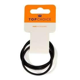 Top Choice Gumki do włosów silikonowe białe i czarne (22791)