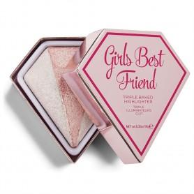 I Heart Revolution Triple Baked Highlighter Potrójny rozświetlacz Girls Best Friend 10g